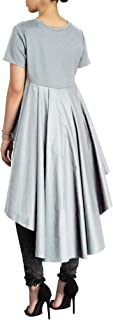 Women's Casual Chic Blouse Short Sleeve Round Neck Dovetail Hem T-Shirt