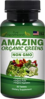 Non-GMO Amazing Organic Greens Superfood Supplement Tablets – 29 Organic Fruits & Vegetables for Dietary Health - Made in USA