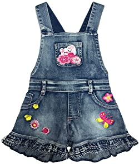 2-7T Little&Big Kids Girls Jumpsuit&Rompers Bib Overalls Cat Suspender Shorts Jeans Pants