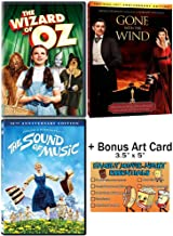 The Wizard of Oz + Gone with the Wind + The Sound of Music - 3 Classic Movies DVD Collection with Bonus Art Card