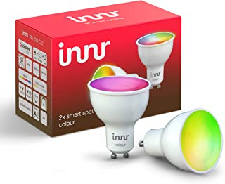 Innr GU10 Smart LED Spot conectada, Color, compatible con Philips Hue* & Alexa (Puente requerido), RGBW, intensidad regulable, 16 millones de colores, 2-Pack, RS 230C-2