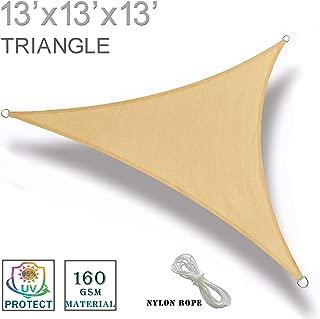 SUNNY GUARD 13' x 13' x 13' Sand Triangle Sun Shade Sail UV Block for Outdoor Patio Garden