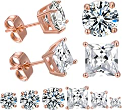 DwearBeauty Gold Plated Cubic Zirconia Stud Earrings Round & Square Pack