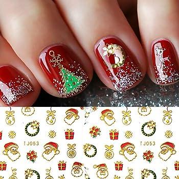 Christmas Nail Stickers - 380PCS 3D Metal Gold Xmas Design Self-adhesive Nail Decals, Bronzing Snowflakes Snowmen Santa Xmas Tree Nail Art Stickers Tips Stencil DIY Decoration for Women Kids(10 Sheets)