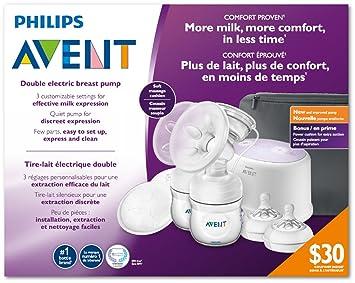 Philips AVENT Double Electric Breast Pump + Bonus Power Cushion, SCF334/22, White