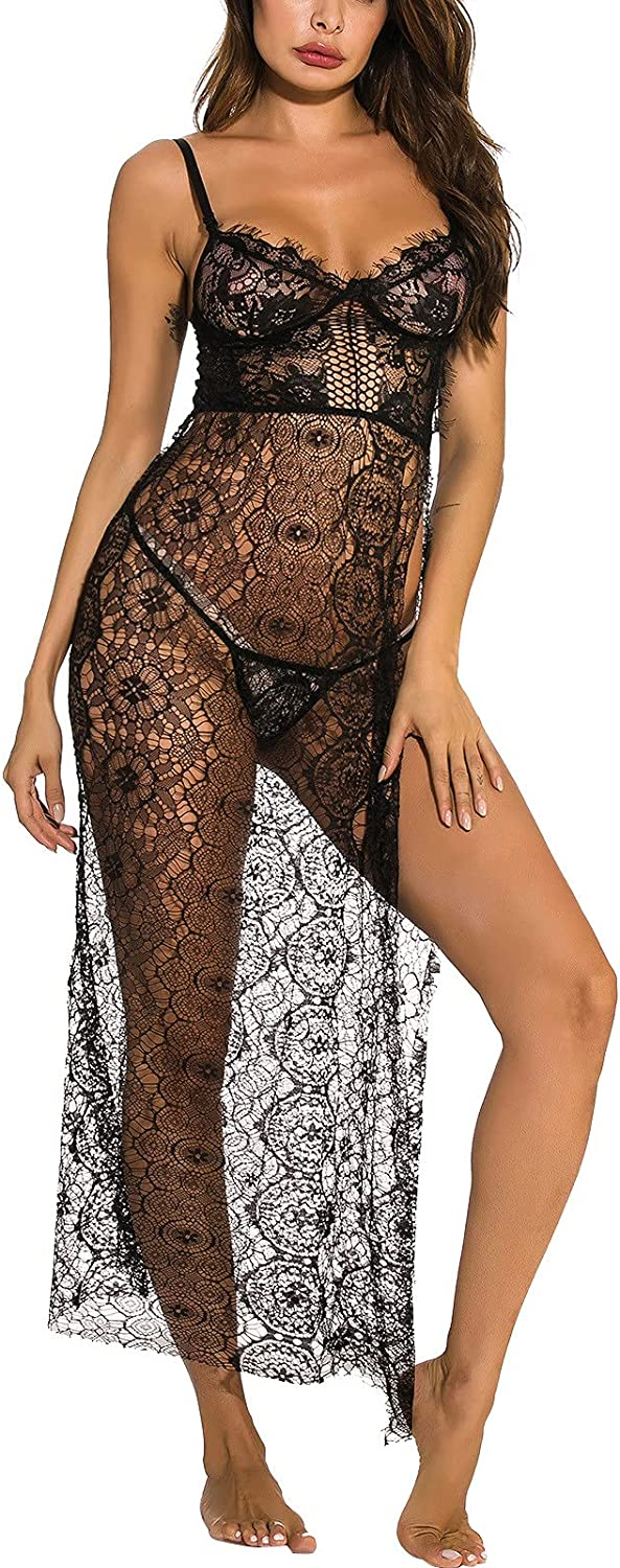 Sexy Underwear Lace Cardigan Long Skirt Nightgown Suit Home Wear Nightdress Lingerie Hollow Out Long Dress Nightdress