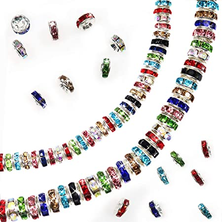 K032 Random Mixed Color Beads \u2022Electroplated Glass Charms with Brass Findings \u2022Rondelle \u2022Faceted \u2022Golden \u2022Mixed Color 50