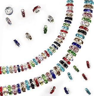 TOAOB 400 Pièces 6mm 8mm Couleurs Mélangées Brillant Strass Perles d'espacement Cristal pour Fabrication de Bijoux DIY Art...