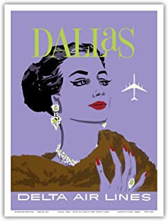 Dallas, Texas - Delta Air Lines - Vintage Airline Travel Poster by John Hardy c.1960s - Master Art Print - 9in x 12in
