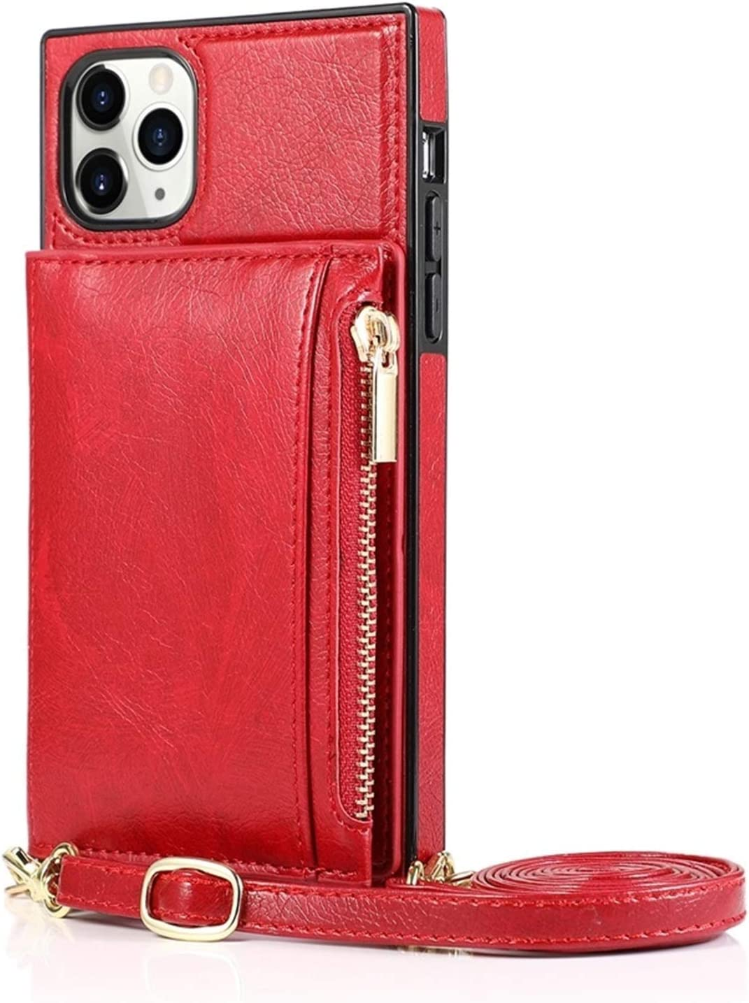 SLDiann Case Compatible with iPhone 11 Pro Max, Zipper Wallet Case with Credit Card Holder/Crossbody Long Lanyard, Shockproof Leather TPU Case Cover for iPhone 11 Pro Max 6.5-inch 2019 Release