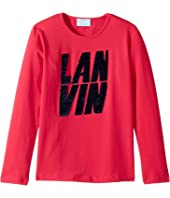 Lanvin Kids - Long Sleeve Sequin Logo T-Shirt (Big Kids)