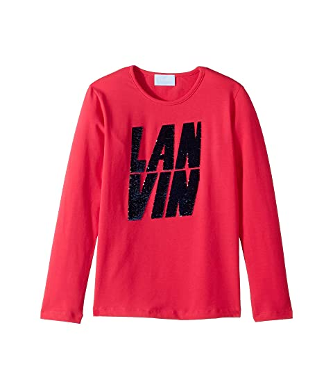 Lanvin Kids Long Sleeve Sequin Logo T-Shirt (Big Kids)