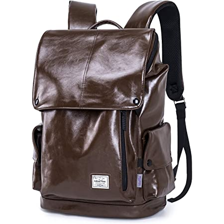 WindTook Laptop Backpack for Women and Men Travel School College Daypack (PU-Brown)