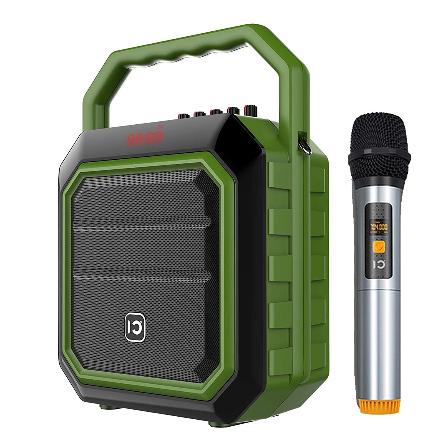 Wireless Portable PA Speaker System - 30W Bluetooth Voice Amplifier Rechargeable Battery Powered Outdoor Sound Stereo Speaker Microphone Set, Support USB/AUX Input/SD/MP3/FM/Record ect(Wireless Green)