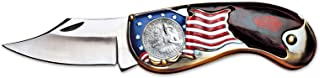 American Flag Coin Pocket Knife with Bicentennial Washington Quarter| 3-inch Stainless Steel Blade | Genuine United States Coin | Collectible | Certificate of Authenticity