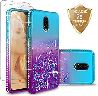 OnePlus 6T Case, Cellularvilla Bling Glitter Liquid Quicksand Waterfall Floating Shiny Sparkle Luxury Pretty Protective Case Cover [Tempered Glass Screen Protector] For OnePlus 6T (2018) (Aqua Purple)