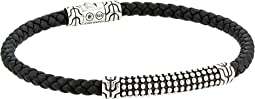 Classic Chain Jawan Bracelet On 4mm Black Woven Leather