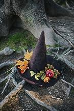 Sombrero de bruja de lana marrón otoñal calabazas halloween dark wicca otoño harry potter disfraz cosplay