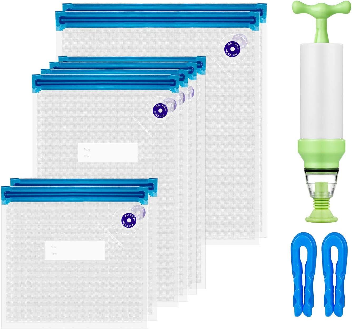 ZWOOS Sous Vide Bolsas, 8 Paquetes (3 tamaños) Selladas al vacío de Alimentos sin BPA Reutilizables con Bomba Manual , 2 Clips de Sellado para almacenar Alimentos
