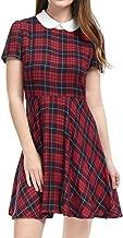 Allegra K Women's Plaids Contrast Peter Pan Collar Puff Sleeves Flare Dress