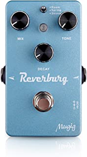 Guitar Effect Pedal, Mugig Electric Guitar Reverb Effects, True Bypass, Adjustable Mix/Tone/Decay (Light Blue)