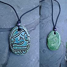Mayan OK Necklace Mesoamerican Tzolk'in Day Sign Dog Glyph Ceramic Amulet Turquoise Green Clay Pendant