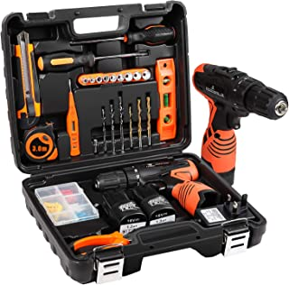 LETTON Cordless Screwdriver Drill Tool Kit 48pc Tool Set Drill Driver Power Tools Set with 16.8V Cordless Electric Screwdr...