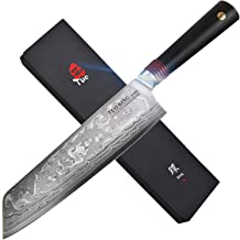 TUO Cutlery Kiritsuke Chefs Knives 8.5 inch, Japanese Damascus Vegetable Cleaver Kitchen Knife with Dishwasher OK G10 Handle, Japanese AUS-10 High Carbon Rose Damascus Stainless Steel - RING R Series