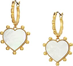 Semi-Precious Heart Charm Earrings