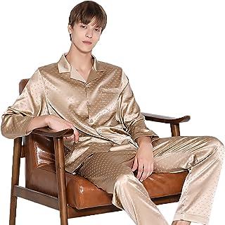 Men Long Sleeve Pjs Pajama Set Silk Nightwear Sleepwear Top & Bottoms Outfits Loose Loungewear,Gold,L