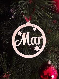 Bolas de Árbol de Navidad Personalizadas de Madera con Nombre.