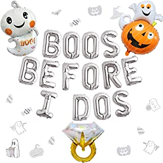 Halloween Bachelorette Party Decorations - Silver Bridal Shower Decorations Kit with Boos Before I Dos Foil Balloons, Wedd...