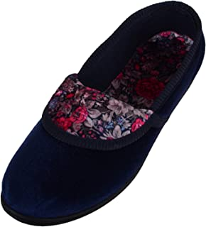 ABSOLUTE FOOTWEAR Womens Soft Velour Style Slip On Slippers/Indoor Shoes with Floral Design