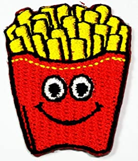 Mini French Fries Fast Food face Smile red Bag Cartoon Embroidered Iron On Sew On Patch Applique DIY Shirt Jeans Hats Bags Jackets Costume for Child Kid Young