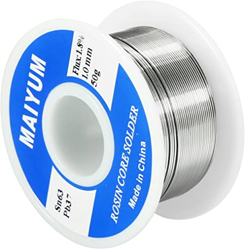 MAIYUM 63-37 Tin Lead Rosin Core Solder Wire for Electrical Soldering (1.0mm 50g)