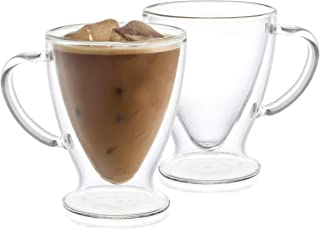 JoyJolt Declan Irish Double Wall Insulated Glass Coffee Cups (Set of 2) -10-Ounces