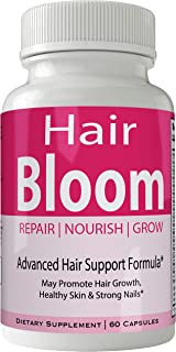 Hair Bloom Hair Growth Pills Skin and Nails Supplement - Advanced Unique Hair Growth Vitamins and Minerals with Biotin - G...