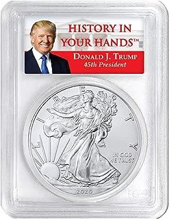 2020-1oz American Silver Eagle - Donald Trump Label Dollar MS70 PCGS