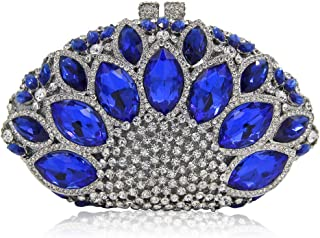 FengheYQ Women's Luxury Diamond Blue Imitation Gemstone Fan Shape Party Evening Bag Metal Chain Shoulder Bag Pu Wallet Bridal Wedding Gift Dress Clutch 19 * 6 * 12cm (Color : Silver)