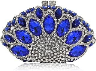 Bag for Women Fashion Women's Luxury Rhinestones Diamonds Blue Imitation Gemstone Fan-Shaped Banquet Evening Bag Metal Chain Shoulder Bag Purse Pu Wallet Bridal Wedding Gift Dress Clutches Bags