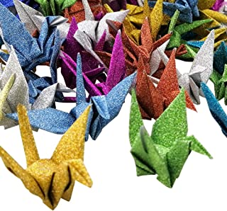 Hangnuo 100 PCS Origami Paper Cranes Glitter Mixed Colors, Folded DIY Japanese Crane Mobile String Garland for Wedding Party Backdrop Home Decoration