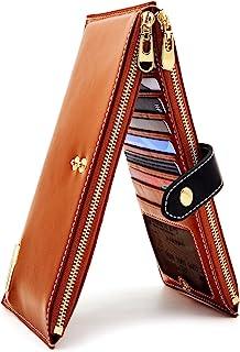 ANDOILT Women's Genuine Leather Wallet RFID Blocking Credit Card Holder Zipper Purse Cell Phone Handbag