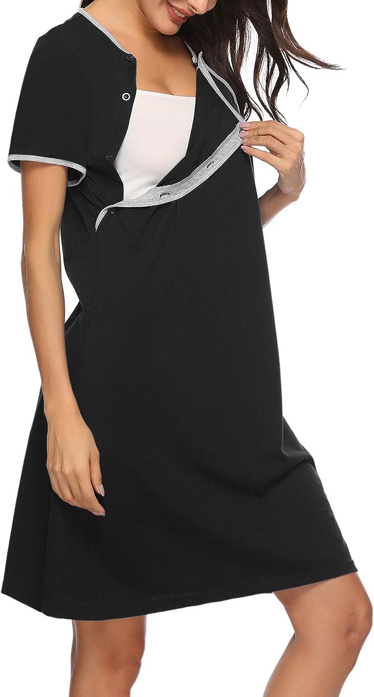 Sykooria Vestido de Lactancia Conjunto de Pijamas de Maternidad Embarazo Ropa de Dormir Suave de Manga Corta para la Madre Que Amamanta Ropa de Dormir de Algod/ón para Premam/á
