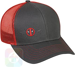 d74fe9a2aef Deadpool Logo with Weapons Structured Snapback Baseball Mesh Hat Cap  1065