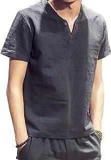 Leapparel メンズ 半袖Tシャツ 無地 Vネック 夏 通勤通学 ファション カジュアル カットソー 快適 Tシャツ グレー