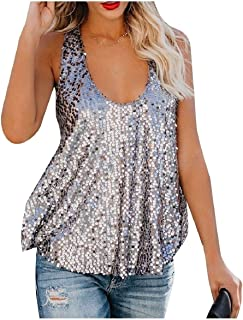 Coolred Women Sleeveless Sequin Draped Scoop Neck Clubwear Tank Tops Vest