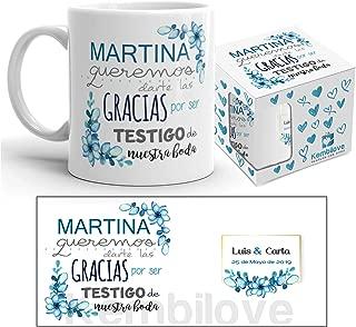Kembilove Taza de Café para Bodas – Taza de Desayuno Regalar a los Invitados – Taza de Café y Té para Bodas – Taza de Cerámica Impresa – Tazas de de 350 ml para Aniversario (para Amiga.)