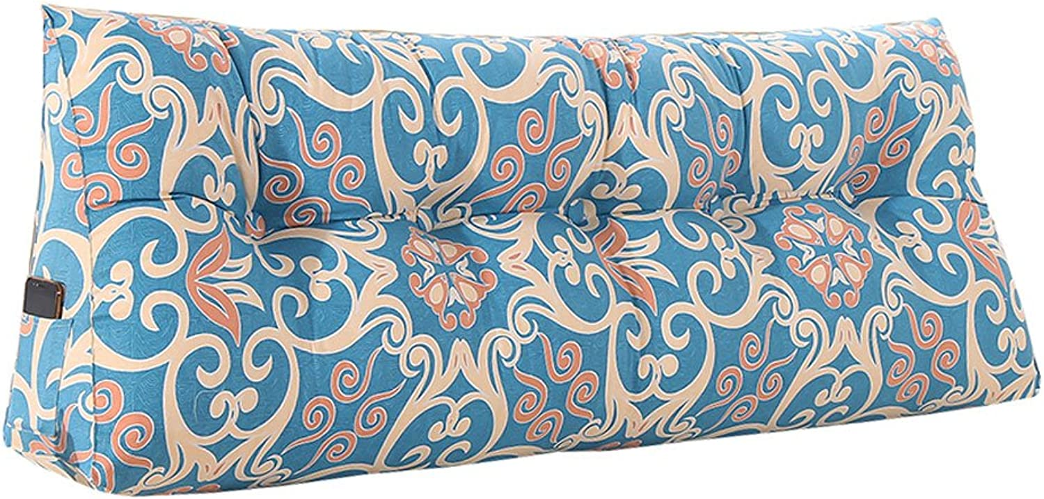 DDSS Bed cushion Triangle Bed Cushion Washable Tatami Large Back Bed Pillow Lumbar Pillow Predection Waist Soft and Comfortable bluee Print 5 Sizes  -  (Size   100CM)