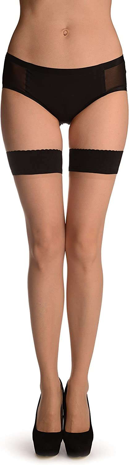 Beige With Black Rounded Petals Top Silicon Garter - Stay - Up Hold Ups (Stockings)