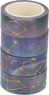 Artibetter 4 Rollos de Cinta Adhesiva Decorativa Rollos de Noche Cielo Estrellado Washi Tape Scrapbooking para Revistas Bu...